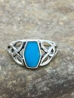 Native American Navajo Sterling Silver Blue Turquoise Ring Set 6.75 2951