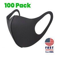 [100 PACK] Breathable Black SPONGE FOAM Mouth Face  Mask THIN Lightweight Cover