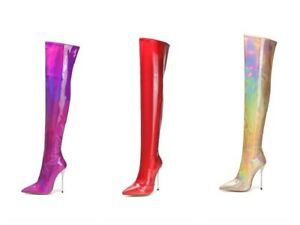 Ladies Club Shoes Shiny Stiletto High Heels Zip Up Over Knee Boots UK Size b011