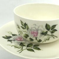 Set of 4 Crooksville Delmar Marie White Rose China Flat Cup and Saucer Sets