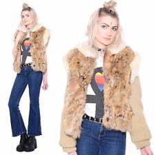 Vtg 80s REAL FUR Shaggy Plush Boho Hippie Rocker Knit Sweater Jacket Coat Vest
