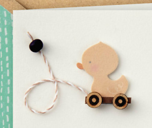 New Sweet Baby Boy or Girl Yellow Duck Pull Toy Hallmark Signature Greeting Card