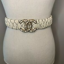 New Authentic 2019 Collection CHANEL Lambskin w/ Pearls White Belt size 75