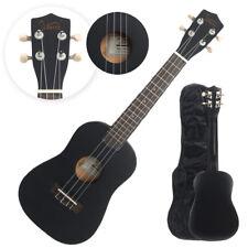 "23"" Black Concert Ukulele Guitar Basswood 15 Frets Hawaiian Instrument w/ Bag"