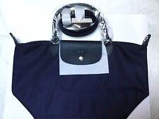 NWT Longchamp Le Pliage Cuir Small Top Handle Marine Navy Blue Neo Crossbody Bag