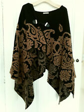 MADE IN ITALY - Chunky Tan and Black Textured Wool Mix Cape Shawl Wrap One Size