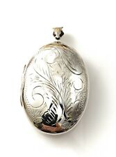 Extra Large Sterling Silver Oval Fancy Engraved Locket , UK Hallmarked 16.6gms