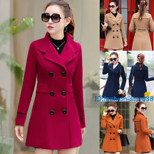 Women's Red Trench Cashmere Slim Winter Warm Coat Long Wool Jacket Outwear