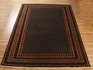 6x9 ft Rugs Indian Handmade Area Rug Brown 'Rudhrama' Hand Knotted Wool Carpet