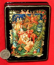 Russian PALEKH GICLEE LACQUER Box A Mad Tea-Party Alice in Wonderland March Hare