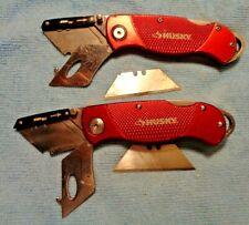 2 HUSKY BRAND RED HANDLE UTILITY KNIFE KNIVES BELT CLIP LOCKBACK GOOD USED COND