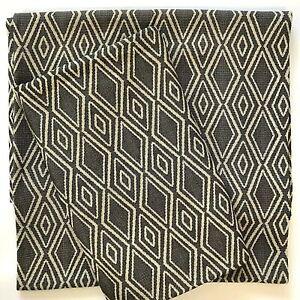 2 West Elm Curtain Panels 48x84 Woven Cotton Dark Gray Triangles Tribal Lattice