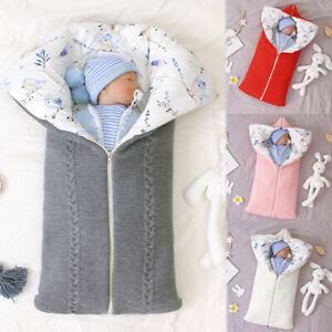 Winter Newborn Baby Warm Cartoon Knitt Swaddle Hooded Stroller Wrap Sleeping Bag