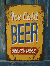 ICE COLD BEER Advertising Poster Vintage Metal Tin Signs Home Pub Bar Wall Plate
