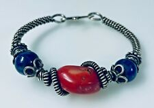 Artisan Made Bangle Bracelet Loaded with Sterling Silver & Interesting Beads g