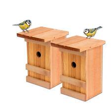 2 Nistkästen Vogelhaus Holz für Vögel Meisen Nisthöhle Vogelhäuschen Set hängend