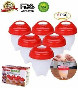 6 Pack Silicone Hard Boiled Egg Boiler Cups Cooker Poacher Steamer without Shell