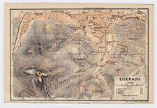 1904 ANTIQUE ORIGINAL CITY MAP OF EISENACH / THURINGIA / THUERINGEN / GERMANY