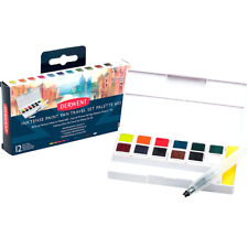 Derwent Inktense Paint Pan Travel Palette #2 Set 12 Paints Case Waterbrush