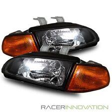 92-95 Civic Coupe/Hatchback JDM Black Crystal Headlights + Amber Corner Lamps
