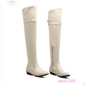 Women's Round Toe Low Heels Knight Boots Over the Knee Buckle Boots Winter Shoes