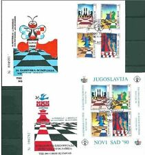 Yugoslavia, 1990, Chess Olympic 2 s/s blocks on 2 FDC