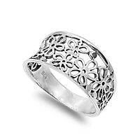 .925 Sterling Silver Plumeria Flower Power Hippy Band Fashion Ring Size 5-10 NEW