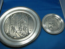 "Two Dia 10"" & 5"" Antique German Embossed Solid Pewter Deco Plate w/Hangers"