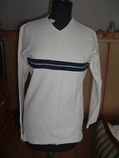 Célio pull homme beige col en V taille S coton bordures bleu marine occasion