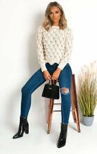 IKRUSH Kiki Chunky Knitted Jumper  BEIGE UK M/L
