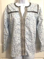 J. Crew Blue & White Floral Embroidered Tunic Pop Over Shirt Peasant Size 0