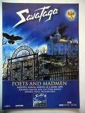 """PUBLICITE-ADVERTISING :  SAVATAGE  2001 pour la sortie de """"Poets And Madmen"""""""