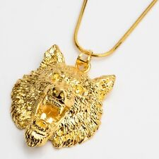 """Wolf Pendant Necklace 18k Yellow Gold Filled 18"""" Link Charms Chain"""