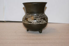 RARE Vintage Mexican Vase Urn Black Pottery Etched Mayan Oaxaca