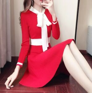 Women's Autumn Winter Sweater Dress Korean Bowknot Knitting Hit Color Fashion