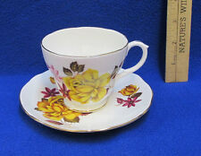 Tea Cup & Saucer Duchess Bone China England Yellow Rose Pink Floral Flowers