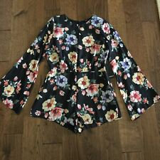 7a57e2b9be1 Forever 21 Black Floral Romper Bell Sleeve Chiffon Sz L NWT Boho Hippie  Flare
