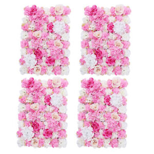 4pcs Artificial Flower Panels Wall Hanging Ornaments for Wedding Decor Hot Pink