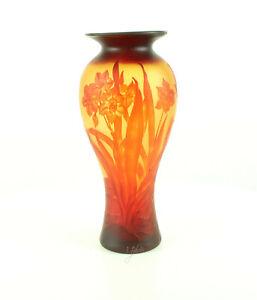 9973525-dss Verre Cameo Vase Jonquille Narcisse 20x44cm Neuf