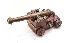 "Vintage Brass wood Wheels Signal Cannon Antique Miniature Navy 8"" long"