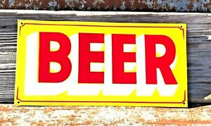 Vintage Old Painted Metal BEER Liquor Store Gun Shop Store Hunting Cabin Sign