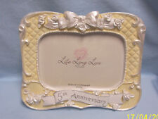 Beautiful 5th Anniversary Photo Frame by Enesco 2001 Holds 4 x 6 Photograph