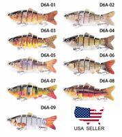 Bass Crusher Lures, Fishing 6 Segments Artificial Bait Perch Pike Walleye Trout