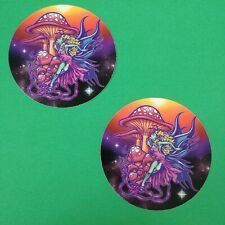 "Bundle Lot of 2pcs Fairy Mushroom Rainbow Faerie 5"" Textured Waterproof Sticker"