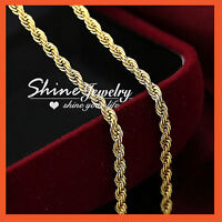 9K YELLOW GOLD GF SOLID MENS LADIES GIRLS 3MM ROPE CHAIN LONG NECKLACE 50cm GIFT