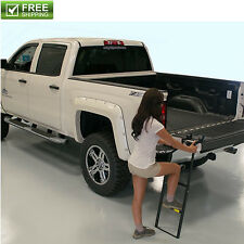 TAILGATE LADDER ADJUSTABLE STRONG FOLDING SECURE STEEL STEP ON PICKUP TRUCK NEW!