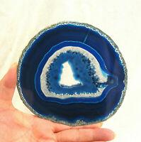 Blue Agate Slice with Quartz Crystal Extra Large Polished Geode Slice 14cm
