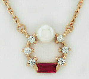 RUBY & WHITE SAPPHIRE & GENUINE PEARL NECKLACE .925 Silver (Rose tone) ** NWT **