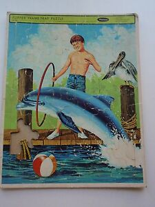 Vintage Whitman Flipper TV Series Frame Tray Puzzle 1966 Dolphin Pelican #4546