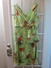 Donna Morgan Red&Yellow on Green Floral 100%Silk Blouse&Skirt Suit Women 8**Mint